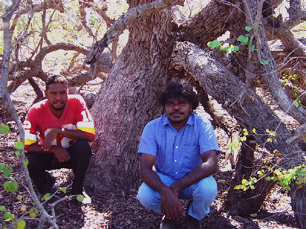 Eric and Wayne under 'Jigal' tree Bauhinia cunninghamii