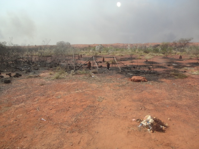 The remains of Buru Energy campsite burnt out by wildfire