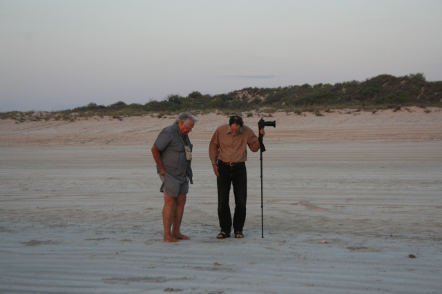 Craig Downer discussing beach ecology with me.