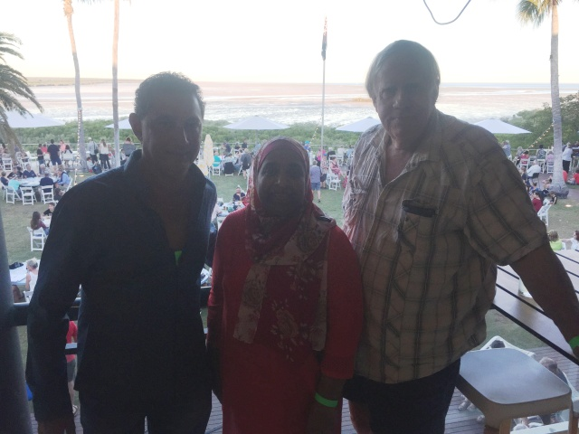 Neil Gower, CEO of Mamabulanjin Aboriginal Corporation, Dr Sultan-Bawa and myself at the Mangrove Hotel in Broome
